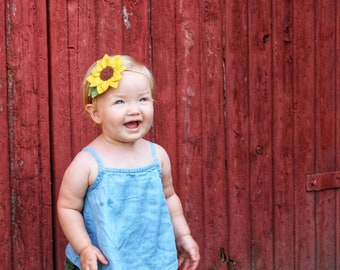 Sunflower Headband, wool felt flowers, baby girl hair accessories, baby headbands