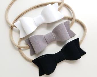 Velvet, BIG Bows, white, gray, or black, nylon headbands, velvet black, velvet gray, velvet baby bows, vanaguelite, velvet bows.