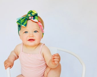 Baby headbands, headwraps, tied bows, turbans, Baby bows, knot bows, Tropical Paradise