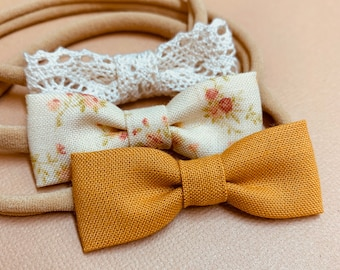 Newborn bows, Neutral colors tiny bows, Itty Bitty Bows, baby girl headbands, mustard, ivory lace, vintage floral