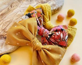 Fall Heaven Bows, Fall floral Bow, Mustard, Nylon headband, Hair clips