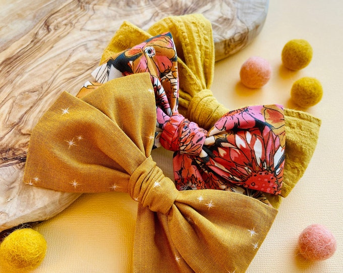 Featured listing image: Fall Heaven Bows, Fall floral Bow, Mustard, Nylon headband, Hair clips