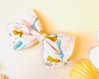 Hair Bow, Mermaid Bow, Summer Headbands or Hair Clips