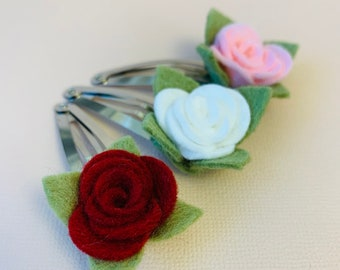 Floral snap clip, Mini Rose, valentine's day baby clips, Toddler hair clips, girl floral clips