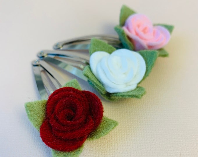 Featured listing image: Floral snap clip, Mini Rose, valentine's day baby clips, Toddler hair clips, girl floral clips