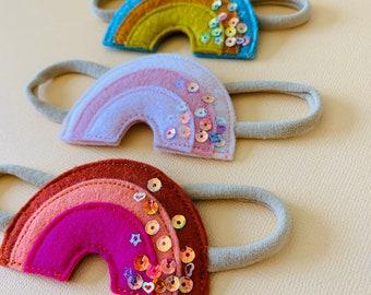 Retro Rainbow headband, jeweled wool felt Rainbow, Nylon Headbands or alligator clips