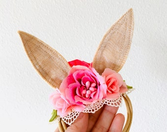 Boho Bunny Ears, Flower crown, Easter Photo props, baby nylon headband, hard headband, vanaguelite