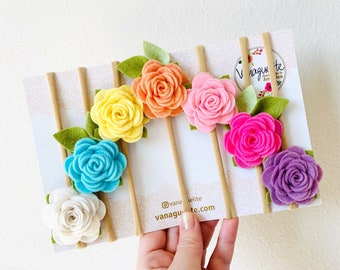 Floral headbands, Flower rainbow, felt flowers pastel colors, baby floral, hair accessories, vanaguelite, set of 7