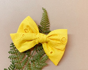 Baby girl Bow, Yellow eyelet embroidered fabric, Nylon Headbands or Hair Clip, newborn headbands, Schoolgirl Bows