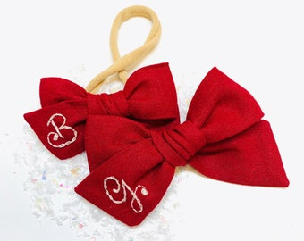 Personalized Baby Bow, embrodered letter, Red bow, nylon headband or hair clip, custom monogram