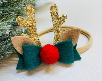 Rudolf Reindeer Antlers, Christmas baby bow, alligator clip or nylon headband, vanaguelite