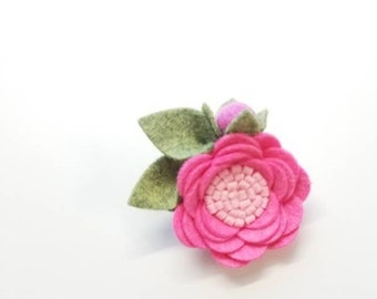 Floral headband or hair clip, Baby Bows, Pink Rosette, wool felt flower