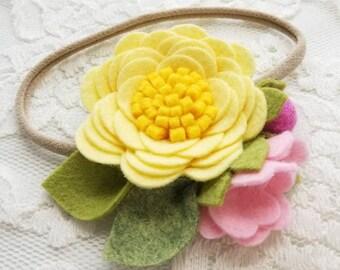 Pink lemonade, Floral headband, felt flower, baby girl accessories, nylon headbands, vanaguelite