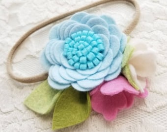 Ice Blue, Floral headband, baby hair, nylon headband, baby girl, baby accessories, vanaguelite, felt flower.