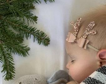 Baby Reindeer Antlers, Christmas baby bow, Rose Gold Bow, alligator clip or nylon headband, vanaguelite