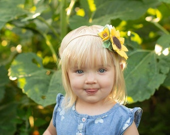 Sunflower Crown, Baby Headband, wool felt flowers, baby girl hair accessories, baby headbands