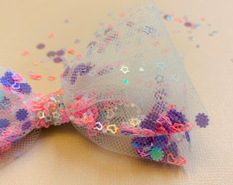 Tulle and Confetti Bow, headband or hair clip, birthday bow