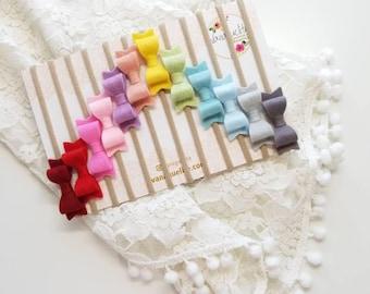 CUSTOM COLORS Rainbow Set of 12 Mini Bow baby Nylon Headbands 2 inches