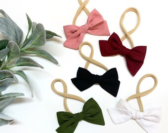 Fall Winter Baby Bows, nylon headbands, baby headbands or hair clips, 3 inches