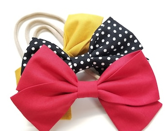 Baby bows Handmade, Nylon Headbands or Hair Clips, set of 3 bows, mustard, polka dot and red