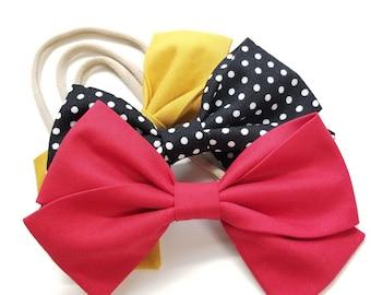 Baby bows Handmade, Nylon Headbands or Hair Clips, set of 3 bows, mustard, polka dot and red