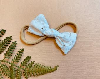 Baby girl Bow, White Lace petal Mini Knotted Bow, Nylon Headbands or Hair Clip, newborn headbands