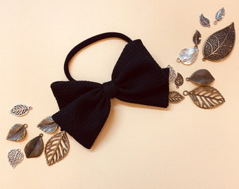 Black oversized bow, textured Knot Bow, Nylon Headband, baby bow, Vanaguelite, hair accessories