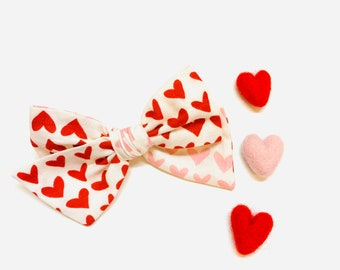 Valentine's Day Baby Bow, Red and Pink hearts, Nylon Headbands or Hair Clip, school girl bow