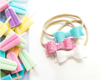 Baby bows, Sorbet set,  Handmade Mini Bows, set of 3, Baby headbands, nylon fits all, sparkly pink, aqua, white
