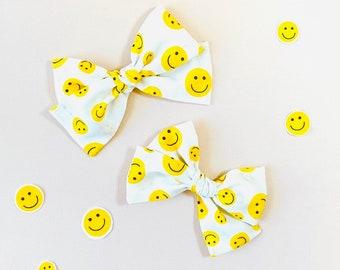 Baby Bows, Smiley Face Bow, Nylon Headbands or Hair Clip