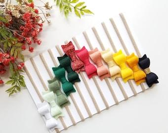 Christmas baby Bows, The 12 Days of Christmas RAINBOW, Merino Felt Baby Bows, nylon headbands (Free Shipping)