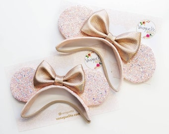Baby Mouse Ears, rose gold ears, mouse Ears, Soft Base, baby headbands, rose gold, blush, sparkly faux leather