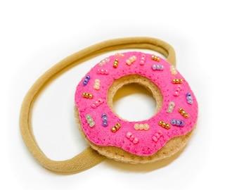 Donut headband, baby bows and headbands, first birthday headband, donnut grow up