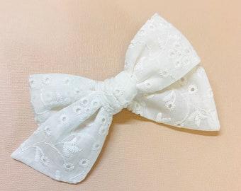 White eyelet Bow, schoolgirl Style, baby headband or hair clip, knot bow