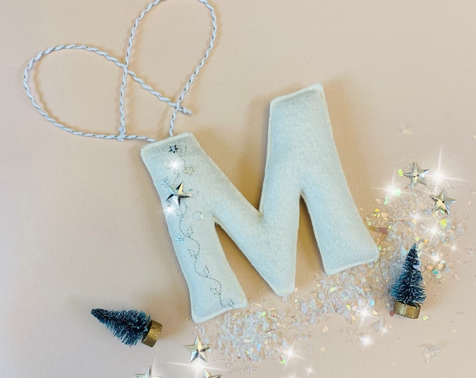 Featured listing image: Personalized Letter Ornament, Gift tag letters, Custom Monogram, sequins letter