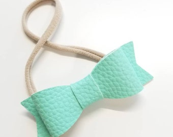 Baby Bow Soft faux leather, Nylon Headband New Size 3 inches, custom colors