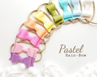 Baby bows, Big pastel rainbow (3in), nylon headbands, baby headbands, baby girl, vanaguelite
