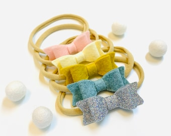 Baby Bows, Nylon Headbands, newborn headbands, Winter Color Palette Collection, handmade in the USA