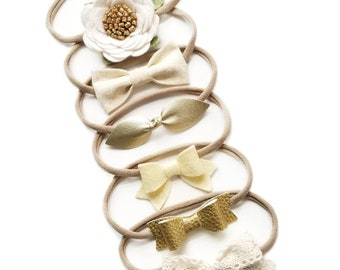 The Perfect Neutrals, Baby bows Ivory and gold
