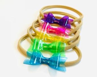 Jelly Bows, nylon headbands or clips, swiming bows Vanaguelite