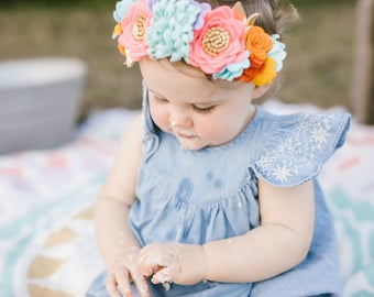 Fiesta, Flower crown, custom flower crown, vanaguelite, Photo props, First Birthday Floral Headband, hair accessories, fairy crown,
