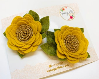 Floral Pigtail Set, Hair Clips, flower clips, alligator clips, Vanaguelite, baby hair accessories, mustard flower. barrettes.