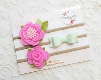 Floral headbands, Pink lemonade set, nylon headbands, baby bows, baby accessories, vanaguelite, flower crown, baby girl.