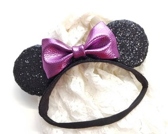 Mouse Ears Crown, black sparkly ears, mouse ears, Soft Base, baby headbands, faux leather bow, purple, fucshia, rose gold