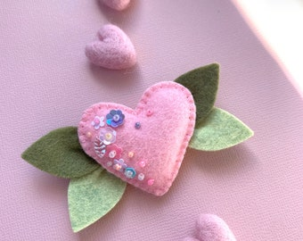 Baby Valentine's Day headband or hair clip, Valentine's Day baby bows, pink heart