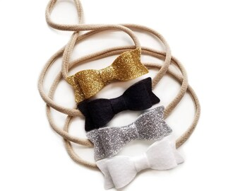 Gold and Silver Special Handmade Set of 4 MINI BOWS baby headbands