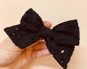 Baby girl Bow, Black eyelet embroidered fabric, Nylon Headbands or Hair Clip, newborn headbands, Schoolgirl Bows