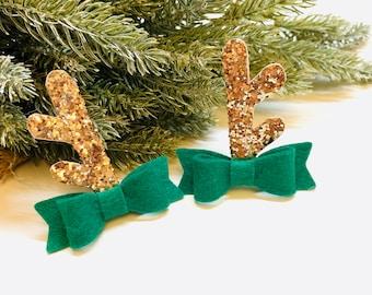 Mini Reindeer Antlers, Pigtails set, Christmas baby bow, alligator clips, kelly Green or Custom colors, vanaguelite