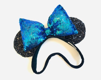 Baby Mouse Ears, black and iridescent green-purple ears, mouse Ears, Soft Base, baby headbands, Mermaid sequin bow, sparkly faux leather