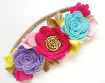 Flower Crown, Floral Headband, Rainbow felt flowers, hair accessories, baby headband, first birthday, vanaguelite.